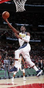 CHICAGO, IL - JANUARY 4: Victor Oladipo #4 of the Indiana Pacers shoots the ball against the Chicago Bulls on January 4, 2019 at United Center in Chicago, Illinois. NOTE TO USER: User expressly acknowledges and agrees that, by downloading and or using this photograph, User is consenting to the terms and conditions of the Getty Images License Agreement. Mandatory Copyright Notice: Copyright 2019 NBAE (Photo by Jeff Haynes/NBAE via Getty Images)