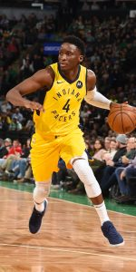 BOSTON, MA - JANUARY 9: Victor Oladipo #4 of the Indiana Pacers handles the ball during the game against the Boston Celtics on January 9, 2019 at the TD Garden in Boston, Massachusetts.  NOTE TO USER: User expressly acknowledges and agrees that, by downloading and or using this photograph, User is consenting to the terms and conditions of the Getty Images License Agreement. Mandatory Copyright Notice: Copyright 2019 NBAE  (Photo by Steve Babineau/NBAE via Getty Images)