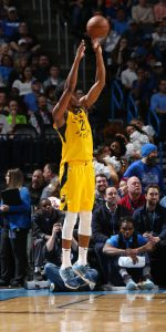 OKLAHOMA CITY, OK - MARCH 27: Thaddeus Young #21 of the Indiana Pacers shoots a three-pointer during the game against the Oklahoma City Thunder on March 27, 2019 at the Chesapeake Energy Arena in Boston, Massachusetts.  NOTE TO USER: User expressly acknowledges and agrees that, by downloading and or using this photograph, User is consenting to the terms and conditions of the Getty Images License Agreement. Mandatory Copyright Notice: Copyright 2019 NBAE (Photo by Zach Beeker/NBAE via Getty Images)