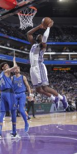 SACRAMENTO, CA - MARCH 21: Harrison Barnes #40 of the Sacramento Kings goes up for the shot against the Dallas Mavericks on March 21, 2019 at Golden 1 Center in Sacramento, California. NOTE TO USER: User expressly acknowledges and agrees that, by downloading and or using this photograph, User is consenting to the terms and conditions of the Getty Images Agreement. Mandatory Copyright Notice: Copyright 2019 NBAE (Photo by Rocky Widner/NBAE via Getty Images)