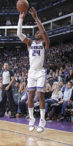 SACRAMENTO, CA - MARCH 21: Buddy Hield #24 of the Sacramento Kings shoots a three pointer against the Dallas Mavericks on March 21, 2019 at Golden 1 Center in Sacramento, California. NOTE TO USER: User expressly acknowledges and agrees that, by downloading and or using this photograph, User is consenting to the terms and conditions of the Getty Images Agreement. Mandatory Copyright Notice: Copyright 2019 NBAE (Photo by Rocky Widner/NBAE via Getty Images)
