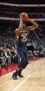DETROIT, MI - APRIL 3: Thaddeus Young #21 of the Indiana Pacers shoots a three-pointer during the game against the Detroit Pistons on April 3, 2019 at Little Caesars Arena in Detroit, Michigan. NOTE TO USER: User expressly acknowledges and agrees that, by downloading and/or using this photograph, User is consenting to the terms and conditions of the Getty Images License Agreement. Mandatory Copyright Notice: Copyright 2019 NBAE (Photo by Brian Sevald/NBAE via Getty Images)