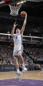 SACRAMENTO, CA - APRIL 2: Bogdan Bogdanovic #8 of the Sacramento Kings shoots a layup against the Houston Rockets on April 2, 2019 at Golden 1 Center in Sacramento, California. NOTE TO USER: User expressly acknowledges and agrees that, by downloading and or using this photograph, User is consenting to the terms and conditions of the Getty Images Agreement. Mandatory Copyright Notice: Copyright 2019 NBAE (Photo by Rocky Widner/NBAE via Getty Images)