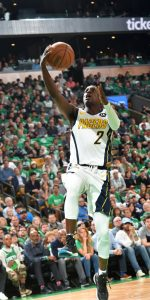 BOSTON, MA - APRIL 14:  Darren Collison #2 of the Indiana Pacers shoots the ball against the Boston Celtics during Game One of Round One of the 2019 NBA Playoffs on April 14, 2019 at the TD Garden in Boston, Massachusetts.  NOTE TO USER: User expressly acknowledges and agrees that, by downloading and or using this photograph, User is consenting to the terms and conditions of the Getty Images License Agreement. Mandatory Copyright Notice: Copyright 2019 NBAE  (Photo by Jesse D. Garrabrant/NBAE via Getty Images)