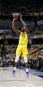INDIANAPOLIS, IN - APRIL 19: Myles Turner #33 of the Indiana Pacers shoots a three-pointer against the Boston Celtics during Round One Game Three of the 2019 NBA Playoffs on April 19, 2019 at Bankers Life Fieldhouse in Indianapolis, Indiana. NOTE TO USER: User expressly acknowledges and agrees that, by downloading and or using this Photograph, user is consenting to the terms and conditions of the Getty Images License Agreement. Mandatory Copyright Notice: Copyright 2019 NBAE (Photo by Ron Hoskins/NBAE via Getty Images)